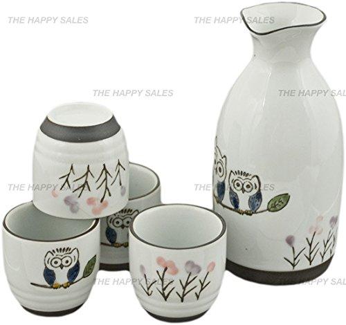 Happy Sales HASS-OWL17,  Porcelain Sake Set Owls by Happy Sales