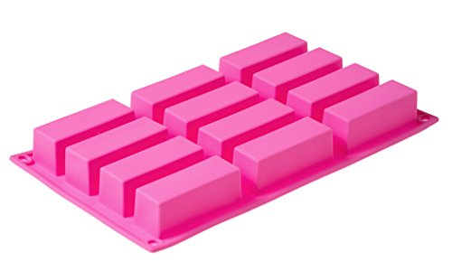 - Longzang 12 Cavity Rectangle Small Loaf Silicone Mold for Handmade Soap Food Tart Pudding Cake