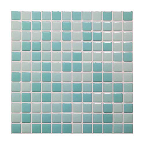 Peel and Stick Tile Backsplash Wall Tiles 3D Wall Tile Sticky Gel Look Mosaic Wall Decor Panels Anti Mold Anti Oil Backsplash Panels for Kitchen Bathroom White/Light Green/Turquoise Color(5 Tiles)
