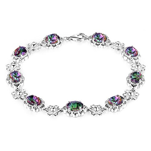 Aurora Tears Women Mystic-Topaz Rainbow Created-Gemstone Circle Tennis Bracelet DB3M(9
