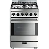 Smeg C24GGXU 24 Freestanding Pro-Style Gas Range With 4 Sealed Burners 3 Cooking Modes Gas Convection Mode Broil Mode Defrost Mode Full Width Grates and Automatic Electronic Ignition: Stainless