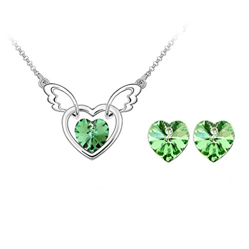 Gift for Girls Angle Wing with Heart Swarovski Elements Crystal Pendant Necklace Stud Earrings Set Fashion Jewelry for Women (Queen Of Hearts Costumes Cheap)