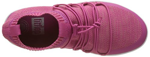 Fitflop Uberknit Slip-On Ghillie Sneakers, Sneaker a Collo Alto Donna Multicolour (Fuchsia/Dusky Pink)