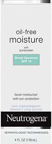 Neutrogena Oil Free Daily Long Lasting Facial Moisturizer & Neck Cream - Non Greasy, Oil Free Moisturizer Won't Clog Pores - SPF 15 Sunscreen & Glycerin, 4 fl. oz