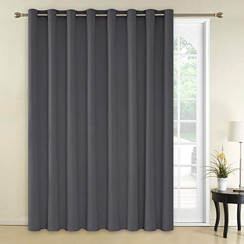 Deconovo Blackout Curtains 1 Panel Wide Width Curtain Room Darkening Shades Thermal Insulared Blinds Room Divider Curtain for Nursery 100 x 84 Inch Dark Grey 1 Drape (Best Way To Bleed Radiators)