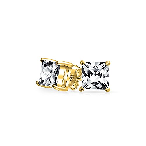 Princess Solitaire Pierced Earrings - .75 CT Square CZ Solitaire Stud Earrings Princess Cut Prong Set 925 Sterling Silver Gold Plated 5mm