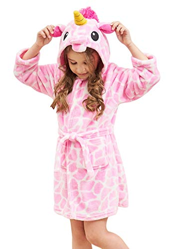 Soft Unicorn Hooded Bathrobe Sleepwear - Unicorn Gifts for Girls (6-7 Years, Pink White Unicorn)