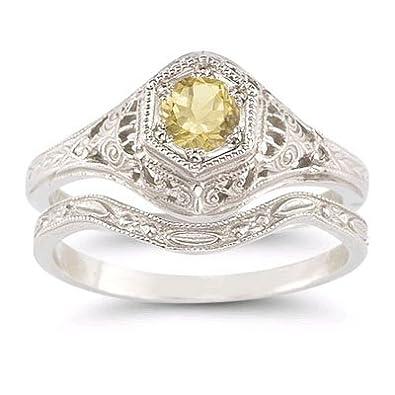 Amazon Com Antique Style Citrine Wedding Ring Set Jewelry