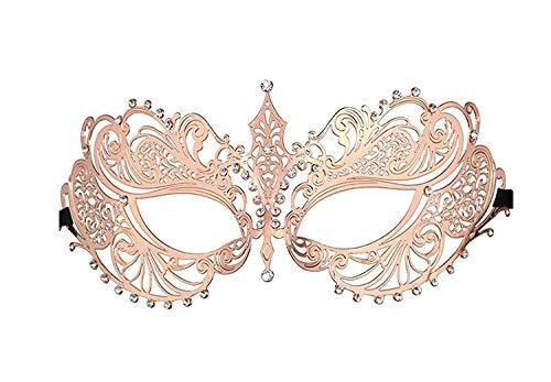 Luxury Masquerade Mask for Women Metal Rhinestone Eye Mask Mardi Gras -