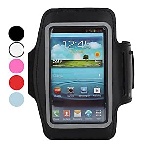 MOM ships in 48 hours Sport Armband PU Leather Case for Samsung Galaxy S3 I9300 (Assorted Colors) , Black