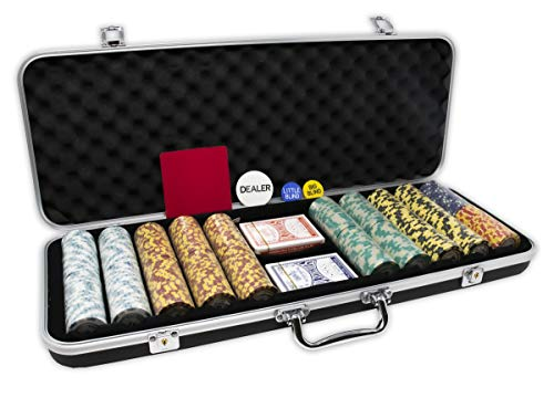 DA VINCI Monte Carlo Poker Club Set of 500 14 Gram 3 Tone Chips with Upgrade Ding Proof Black ABS Case, Cards, 2 Cut Cards, Dealer and Blind Buttons