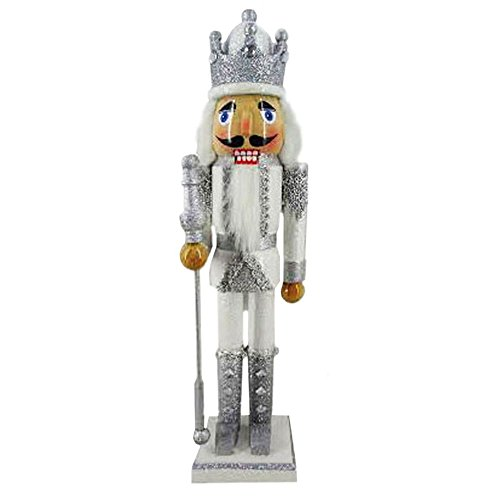Christmas Holiday Wooden Nutcracker Figure Soldier with Traditional Silver and White Glitter Jacket, Boots, and Crown with Silver Sparkle Rhinestone & Braided Details, Large, 15 Inch ()
