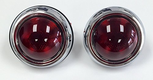 Hot Rod 1950 Pontiac Style Glass Lens Tail Lights Pair Rat (Hot Rod Tail Lights)