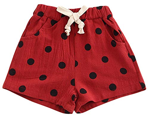 Binse Baby Girl Dot Shorts Summer Cotton Shorts Pants Hot Pants Bloomer Shorts with Pocket Red Height 80cm (Take Off Your Blouse And Your Underpants)