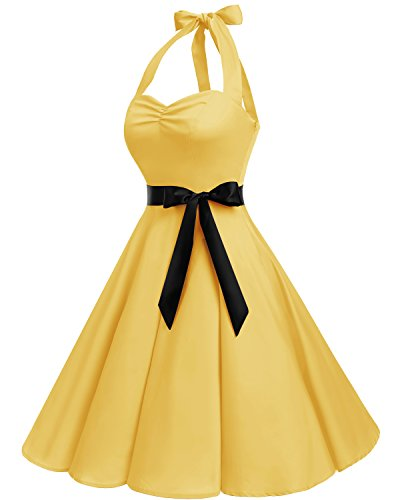 Donna Hepburn Cocktail Vestito 50 Style Yellow Audrey Rockabilly 1950s anni Bbonlinedress 458qxWgg