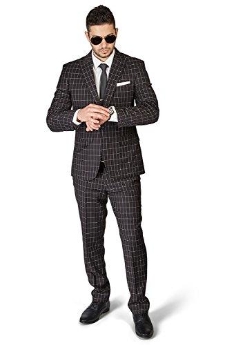 Trouser Windowpane Pant - Slim Fit 1 Button Peak Lapel Checkered Windowpane Suit Flat Front Pants 1696 by AZAR (38 Regular 32 Waist 32 Length, Black)
