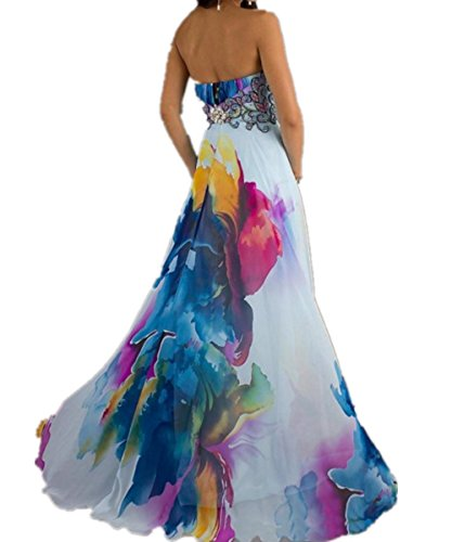 2593fead52ec49 ... EMIN Damen Partykleid Lang Festlich Elegant Ohne Arm Asymmetrische  Kleider Partykleid Saum Blumendrucken Rückenfrei ...