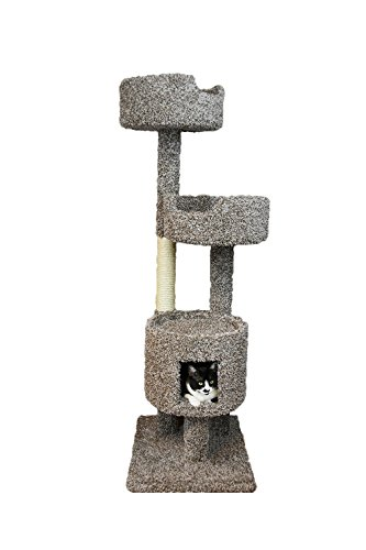 New Cat Condos 190001-Speckled New Cat Condos Wood Cat Tower with Cat Playhouse, Large