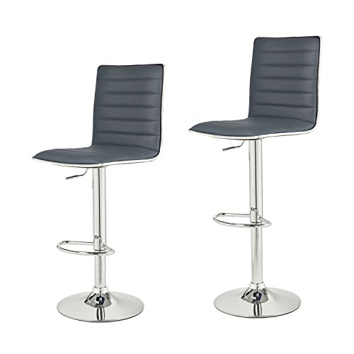 Adeco Grey Hydraulic Lift Adjustable Barstool with Leather Look, Horizontal Channel Tufting Chrome Accents Pedestal Base (Set of two