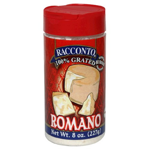 Racconto Grated Romano, 8-Ounce Shaker (Pack of 6)
