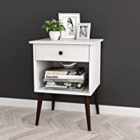 """White / Espresso Nightstand Side End Table Open Storage with Drawer 24""""H"""