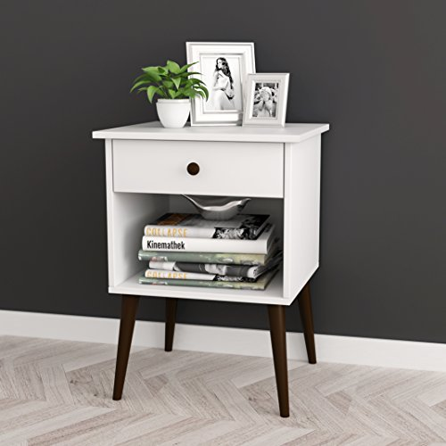 "41fpJ9TIAIL - White / Espresso Nightstand Side End Table Open Storage with Drawer 24""H"