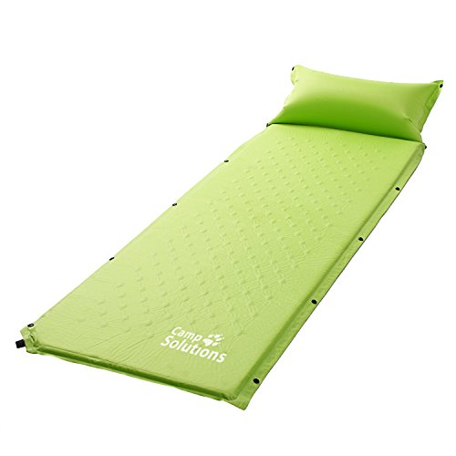 Self-Inflating Sleeping Pad, Air Camping Mat, Lightweight Foam Padding with Inflatable Pillow, L72.8 x W23.6x H 0.98 Repair Patch Included & Split Joint Design, Green ...