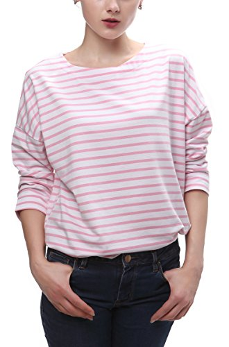 [Women's Red and White Striped Loose T-shirt (L, pink stripe)] (Pink Stripe Shirt)