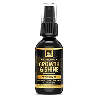 Hairfluence Growth & Shine Hair Oil for Frizz-Free Healthy Shine - Scientifically Formulated Hair Oil Serum with Keratin, Biotin, Argan, Baobab, Marula, and Castor Oils - 2 oz.