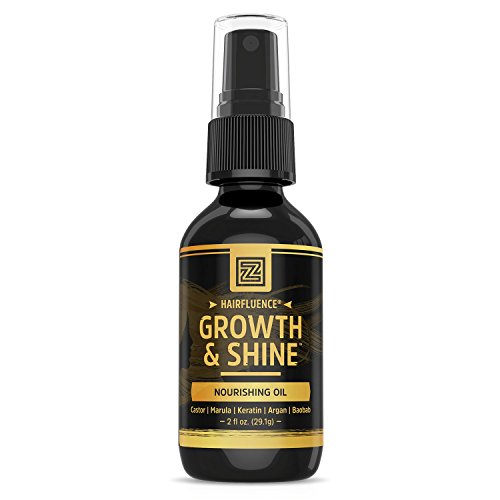 Hairfluence Growth & Shine Hair Oil for Frizz-Free Healthy Shine - Scientifically Formulated Hair Oil Serum & Detangler with Keratin, Biotin, Argan, Baobab, Marula, Castor Oils - 2 oz. from Zhou Nutrition
