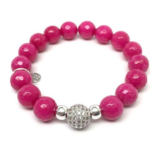 TFS Jewelry Fuchsia Agate 'Radiance' stretch bracelet