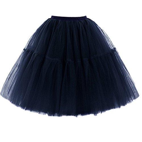 FOLOBE Adult Ballet Tutu Layered Organza Lace Mini Skirt Women's Princess Petticoat for Prom Party Navy -