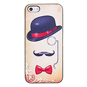 WEV Hat with Red Bowknot Pattern PC Hard Case with Black Frame for iPhone 5/5S