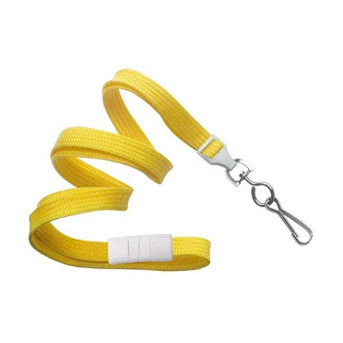"3/8"" Yellow Flat Braid Lanyard with Breakaway and Swivel Hook - 2137-5009"