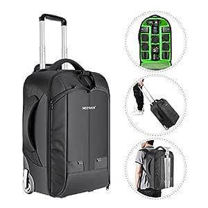 Neewer 2-i-1 konvertibel hjul kamera ryggsäck bagage vagn väska med dubbel bar, anti-chock avtagbart vadderat fack för SLR/DSLR-kameror, tripod, lins och andra tillbehör (svart/grön)