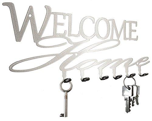 "Key holder - "" Welcome Home "" - beautiful key hook for wall - 6 hooks - metal - silver"