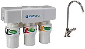 Aquasana 3-Stage Under Sink Water Filter System with Brushed Nickel Faucet