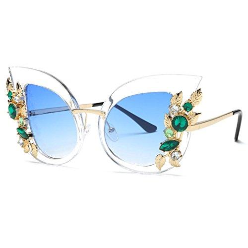 de Métal Rose Mode Diamant F en Oreille de Soleil Lunettes Classique Brun Chat Noir Lunettes Soleil Armature Artificiel Aux de Bleu des Femmes q7814w
