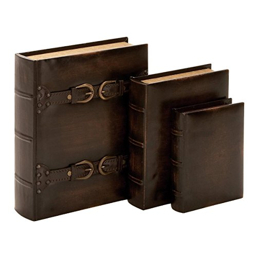 Wood Leather Book Box (Set of 3) 13