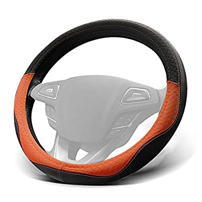 WinPower Car Steering Wheel Cover Microfiber Leather Universal 15 inch for Car Truck SUV,Orange: Automotive