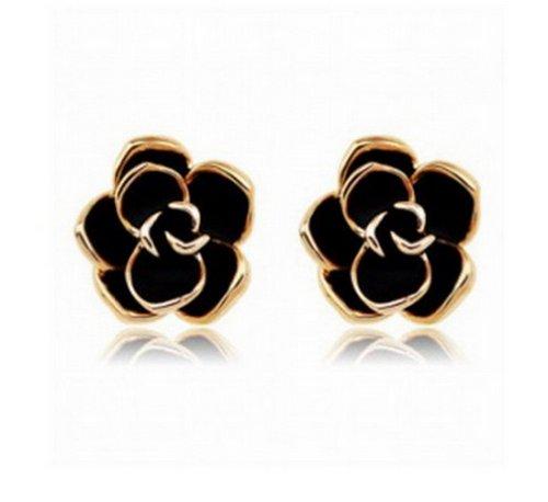 Stud Earrings, LovEnter Black Rose Flower, 18K Yellow Gold Plated Edge (Yellow Gold Plated Edge)