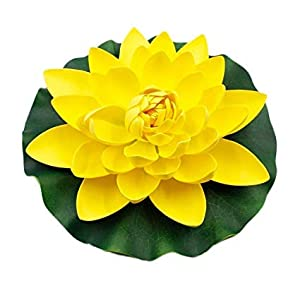Meide Group USA 12 inch XLarge Floating Lotus Lily pad Foam Flowers for Ponds, Weddings, Pool, and Garden Decor (Set of 2) (Yellow) 46