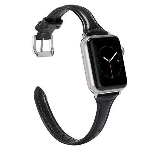 Wearlizer Black Slim Leather Compatible with Apple Watch Band 38mm 40mm iWatch Womens Mens Sport Strap Wristband Replacement Cool Bracelet with Silver Metal Steel Buckle Clasp Series 4 3 2 (Womens Slim Black Leather)