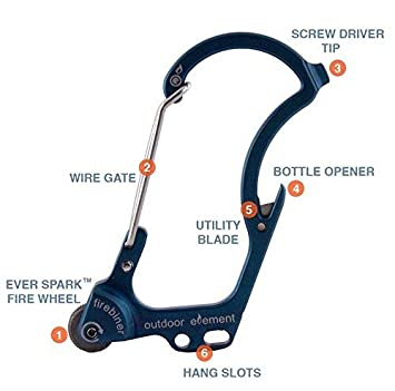 Survival Carabiner Outdoor Element The Firebiner A Fire-Starting Multi-Tool Every-Day-Carry