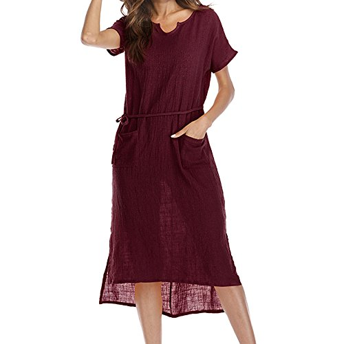 ✩HebeTop Women Long Sleeve Loose Knit Maxi Dresses Casual Long Dresses with Pocket Wine