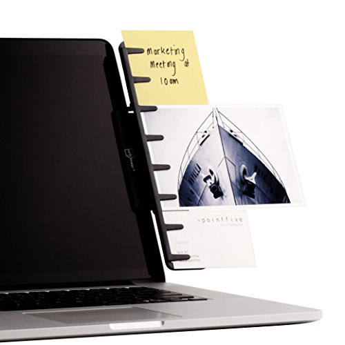 NoteTower Monitor Mount Black - Document Holder & Sticky Notes Organizer - Holds Copy Paper, Photos, Notes & Business Cards Next to Computer Screen