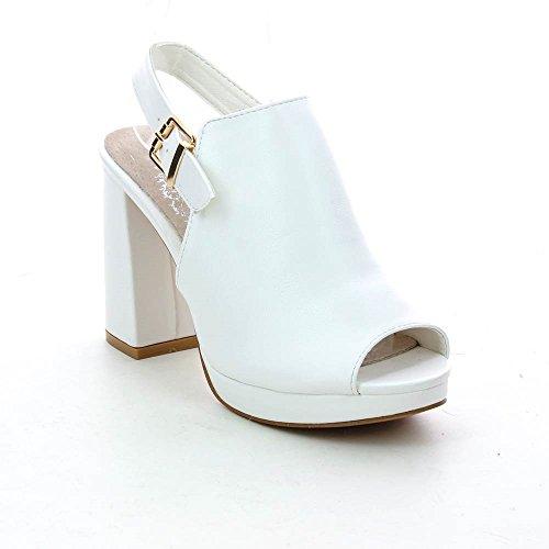 Go Tendance - Sandalias de Vestir de Material Sintético Mujer blanco