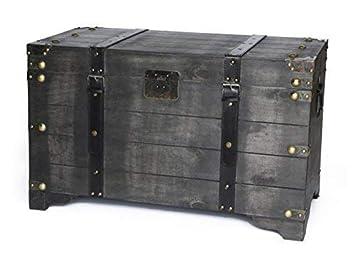 Wood Storage Trunk Coffee Table.Amazon Com Distressed Black Large Wooden Storage Trunk Coffee Table