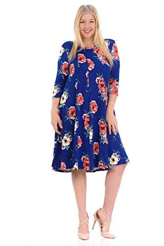 Pastel by Vivienne Women's A-Line Trapeze Midi Dress Plus Size XX-Large Floral Blue Coral