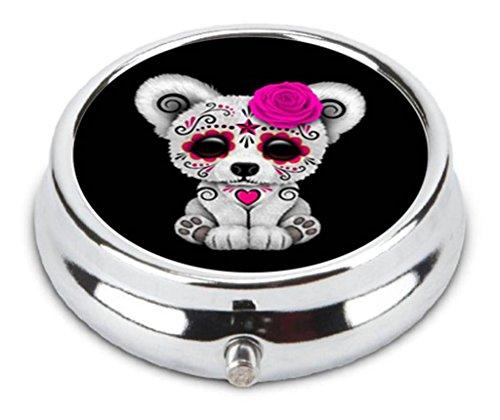 Pink Day Of The Dead Sugar Skull Bear Black Custom Round Medicine Pill Vitamin Box Case Storage Dispenser Organizer Holder